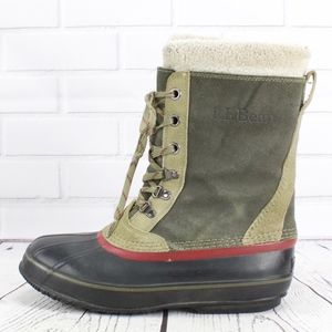LL Bean Green Suede Removable Lining Boots Size 9